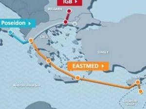 Χάρτης κατασκευής του αγωγού φυσικού αερίου EastMed
