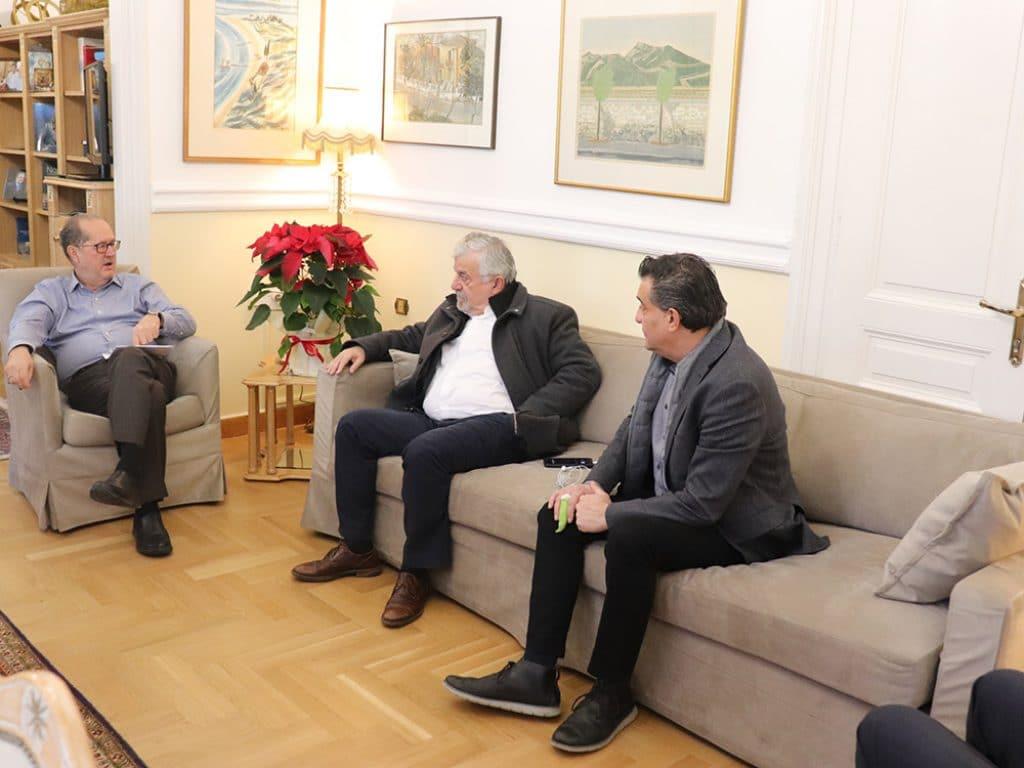 Συνάντηση του Περιφερειάρχη Πελοποννήσου με τον δήμαρχο Μεγαλόπολης Θανάση Χριστογιαννόπουλο και τον πρόεδρο του Δημοτικού Συμβουλίου Θεμιστοκλή Σακελλαριάδη.