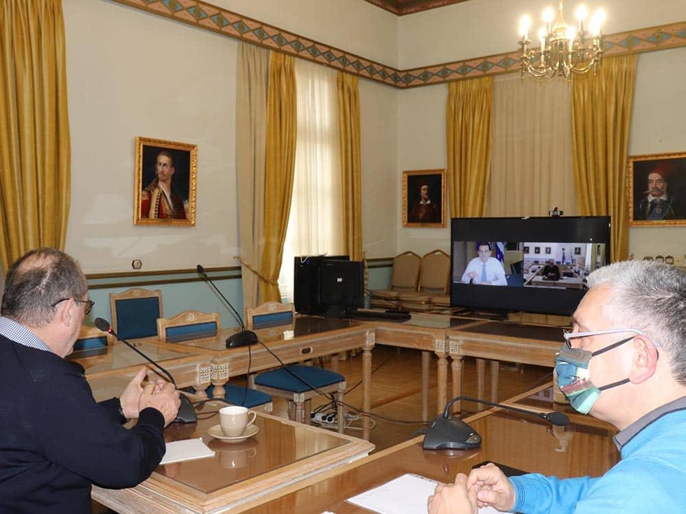 Τηλεδιάσκεψη του περιφερειάρχη Π. Νίκα με τον υπουργό Περιβάλλοντος και Ενέργειας Κ. Σκρέκα για το φυσικό αέριο