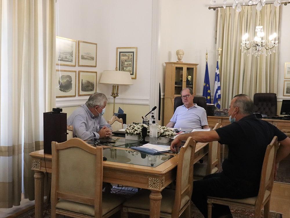 Σύσκεψη του περιφερειάρχη Πελοποννήσου Π. Νίκα με τον δήμαρχο Μεγαλόπολης Θ. Χριστογιαννόπουλο για τον Βιολογικό Καθαρισμό