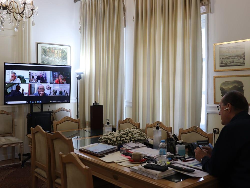 """Σύσκεψη του περιφερειάρχη Πελοποννήσου Π. Νίκα με τα Επιμελητήρια για την συμμετοχή της Περιφέρειας στην έκθεση """"Πανηπειρωτική 2021"""""""