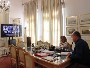 Τηλεδιάσκεψη του περιφερειάρχη Πελοποννήσου Π. Νίκα με την υπουργό Εργασίας και Κοινωνικών Υποθέσεων Δ. Μιχαηλίδου